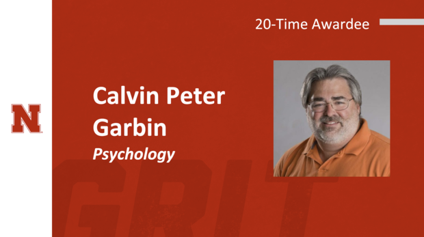 Calvin Peter Garbin of Psychology, who received the award for the twentieth year.