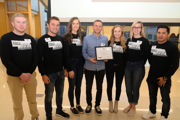 Fall 2019 Strive to Thrive Lincoln students award a $5,000 grant to The BAY, which creates healthy communities through street outreach, skate, art and music.