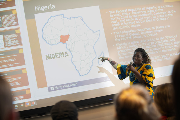 Margaret Nongo-Okojokwu, a first-year graduate student, teaches journalism students about human rights and social justice in the media.