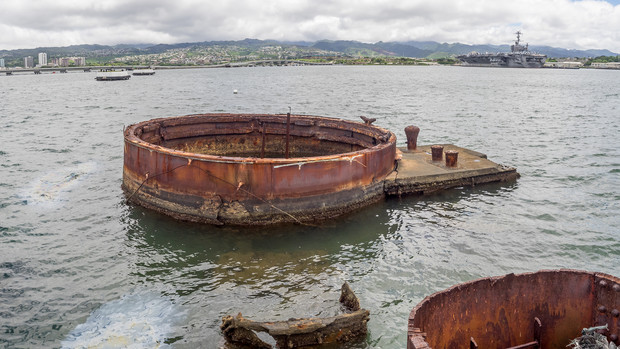 Remains of the USS Arizona in Pearl Harbor, Hawaii.
