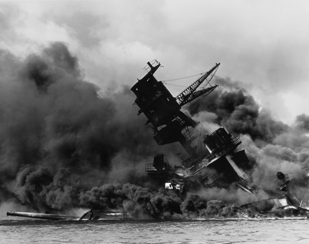 The USS Arizona burns shortly after being hit by a bomb during the attack on Pearl Harbor on Dec. 7, 1941.