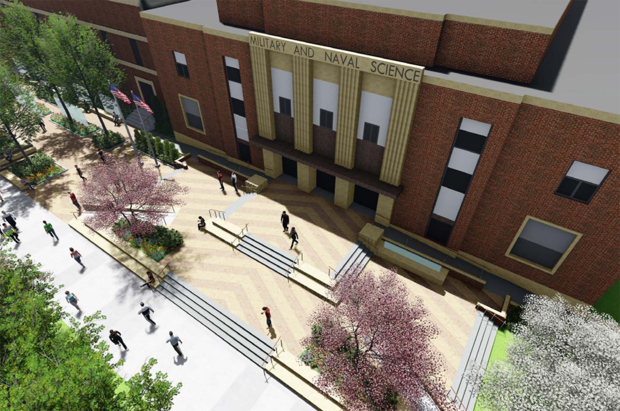 The Veterans' Tribute project includes a redesigned entrance to the Military and Naval Science Building. When complete the project will provide a space for campus ceremonies and events.