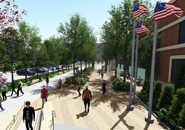 The Veterans' Tribute space will link to the Hall of Fame created by Athletics. The project is part of an ongoing renovation of the mall east of Memorial Stadium.