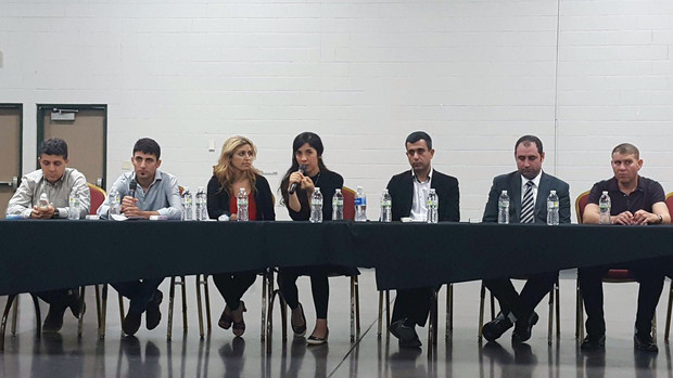 Hadi Pir (left), UNL student Khalaf Smoqi (second from left), Laila Khoudeida (third from left) and Ziyad Smoqi (second from right) were among Yazda leaders who met with Nobel Peace Prize winner Nadia Murad (fourth from left)  during a September 2016 visit to Lincoln.