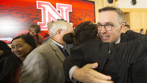 Ronnie Green greets well wishers after being named chancellor of UNL on April 6 in the Van Brunt Visitors Center.