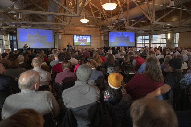 """Nearly 300 attended the second talk in the extended N150-year schedule of the Nebraska Lectures. The next lecture, 3:30 p.m. March 28 in the Great Plains Art Museum, will feature scholar John Sorensen discussing """"Grace and Edith Abbott: Nebraska's Social Justice Sisters."""" The talks are free and open to the public."""
