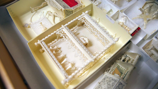 A miniature ivory shelf from UNL's Kruger collection.