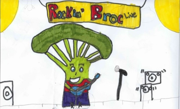 A broccoli poster created by a kindergartner.