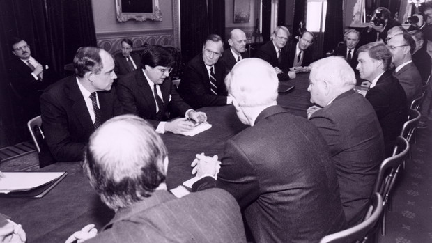President George H.W. Bush meets in Washington, D.C., with officials, including Ronald Roskens (to right of Pres. Bush). Roskens served as University of Nebraska President from 1977 to 1989.