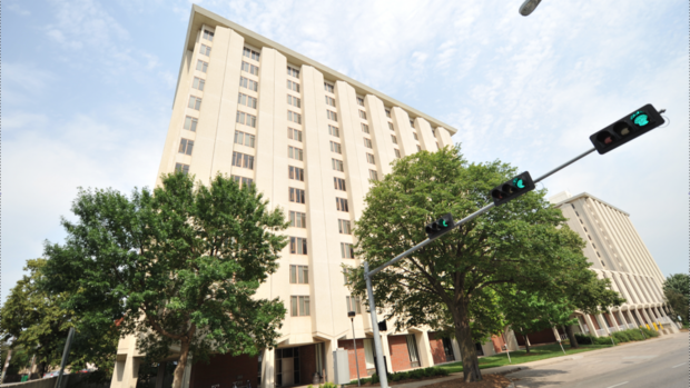 Pound (left) and Cather residence halls