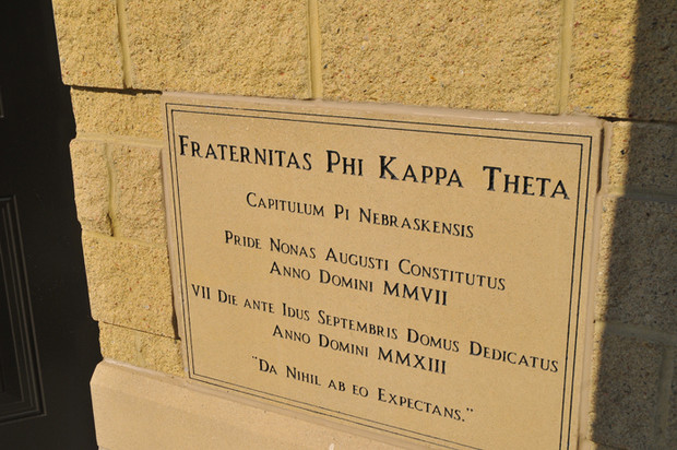 The cornerstone at Phi Kappa Theta, 303 N. 17th St.