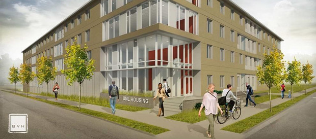 Architectural concept drawing of the new East Campus residence hall, which will open for the fall 2017 semester.