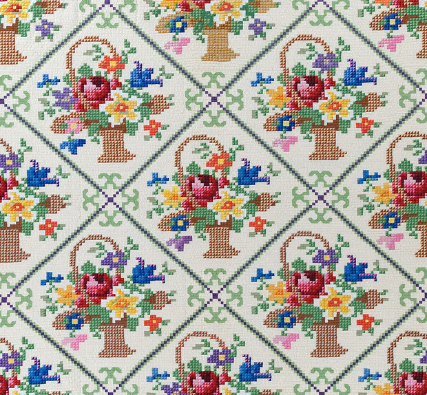 "Detail of Grace Snyder's ""Flower Basket Petit Pointe"" quilt, one of her two designs designated among the 100 best 20th-century quilts by Quilters Newsletter Magazine in 1999. She made the quilt in 1943. (Image No. 7828-8)"