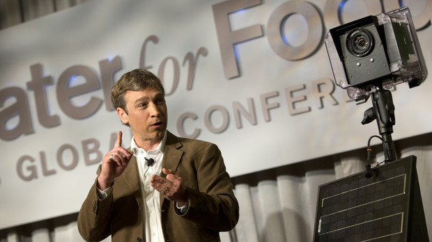 Michael Forsberg talks during the Water for Food conference in May 2013. Forsberg worked at Campus Recreation's Outdoor Adventures program when he was an undergraduate in 1987 to 1989.