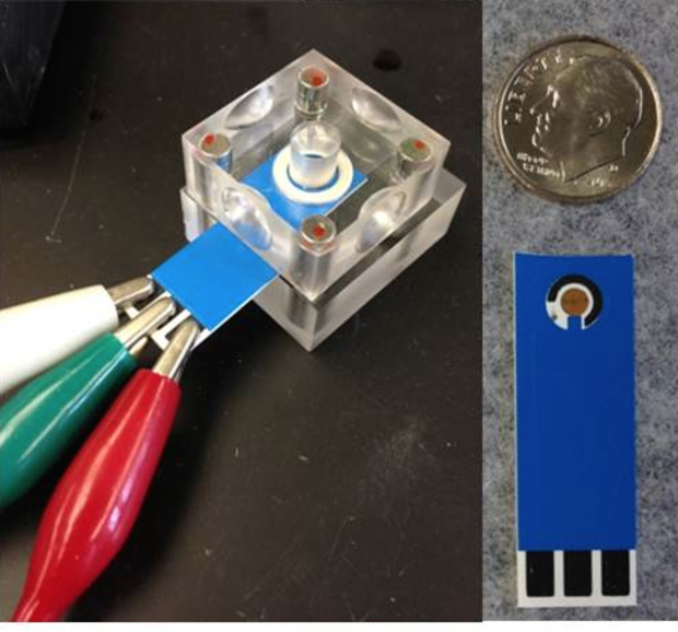 The DNA probe is immobilized on a gold electrode contained within the circle. A water sample as small as 10 microliters is applied to the sensor through the center of the crystal cube. The white, green and red leads attached to the contact pads connect to a handheld power source.