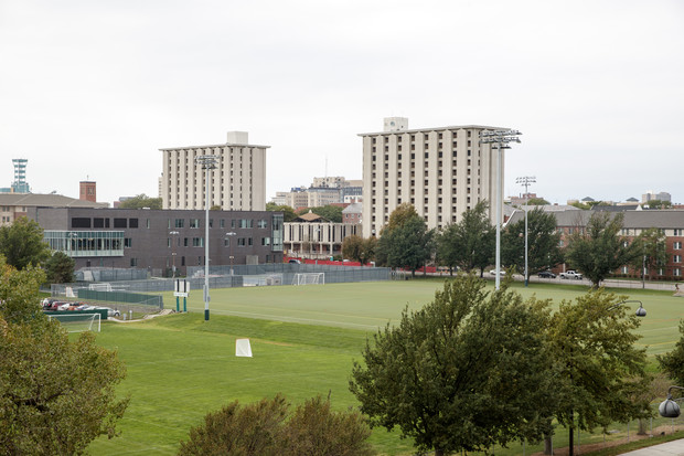 View of Pound (left) and Cather halls from the top floor of the 17th and Vine parking garage. The garage will serve as the public viewing area during the Dec. 22 implosion.