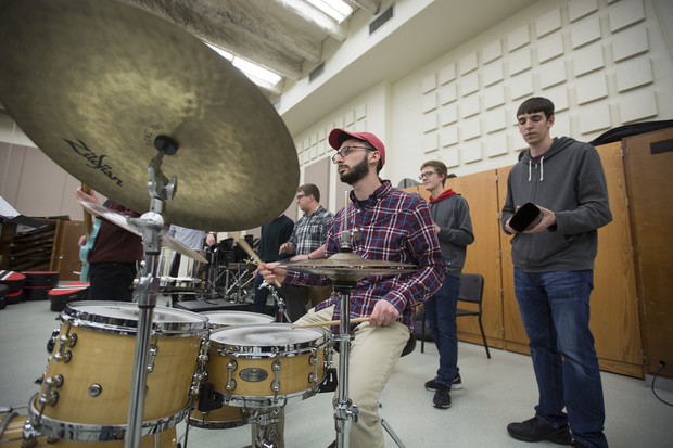Jonah Payne, a freshman music major from Lincoln, plays in the engine room during Nebraska Steel practice. Payne is the first Husker to play in both Nebraska Steel and Pangea, a steel drum band organized through Lincoln Public Schools.