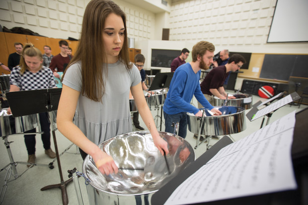 Olivia Boldt, a freshman music major from Madison, South Dakota, plays with fellow Nebraska Steel members in Westbrook Music Building. The ensemble includes undergraduate and graduate students, all of which are part of Nebraska's percussion studio.