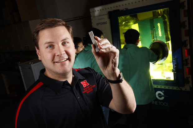 Nebraska engineering Michael Sealy has received a $500,000 National Science Foundation award to support his research into using 3D metal printers to create strong, dissolvable medical implants. The approach may also be used to manufacture military and transportation components and for emerging technologies.