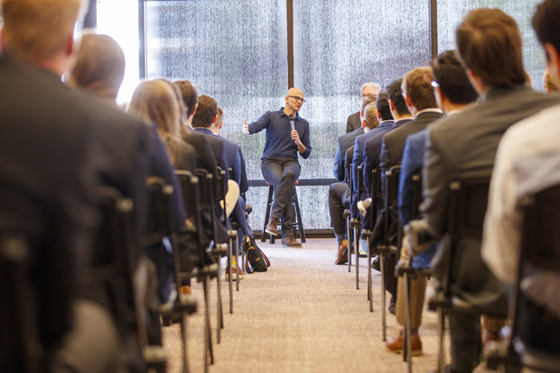 Microsoft CEO Satya Nadella talks with students from Nebraska's Jeffrey S. Raikes School of Computer Science and Management on April 18. Satya also participated in a public talk at the Lied Center for Performing Arts.
