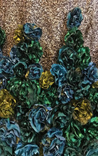 "Detail showing satin flowers as textile manipulation in the garment ""Riqueza,"" 2017, by Katherine Rodriguez Hernandez."