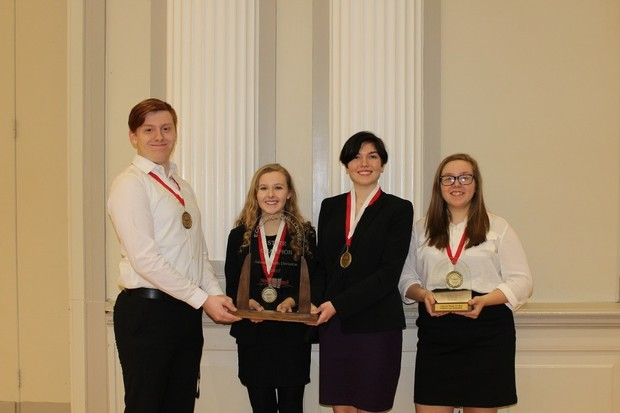 Adam Smith Division state champions from Bellevue East are (from left) Darren Brinkerhoff, Kelly Speltz, Morgan Gallagher and Marina Madrigal.