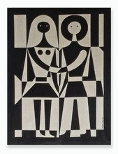 Alexander Girard wall hanging, black-and-white couple, screen print on linen, 1972.