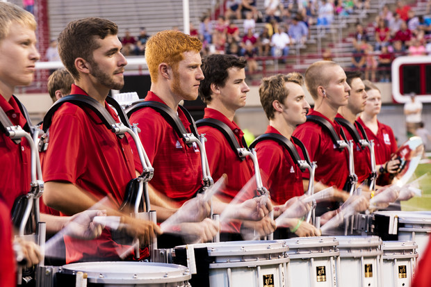 Members of the Cornhusker Marching Band perform during the 2015 exhibition at Memorial Stadium. The 2017 exhibition is 7 p.m. Aug. 18.