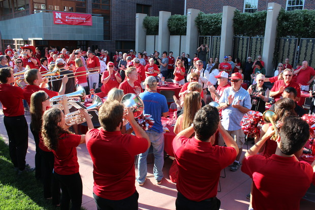 The Husker pep band plays during a 2016 Football Fridays event at the Wick Alumni Center's Holling Garden.