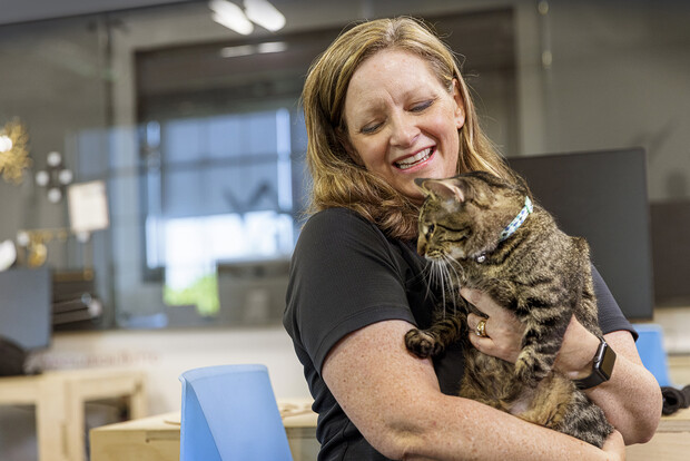 Beth Galles, assistant professor of practice with the Professional Program in Veterinary Medicine, fostered Olive before deciding to adopt her.