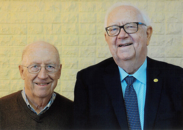 Longtime friends and colleagues John Woollam (left) and David J. Sellmyer.