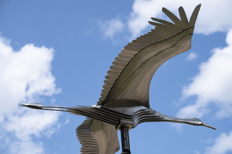 Stainless steel crane sculpture