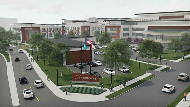 Architect's rendering of how the development gateway might look from the intersection of Vine and 22nd streets.