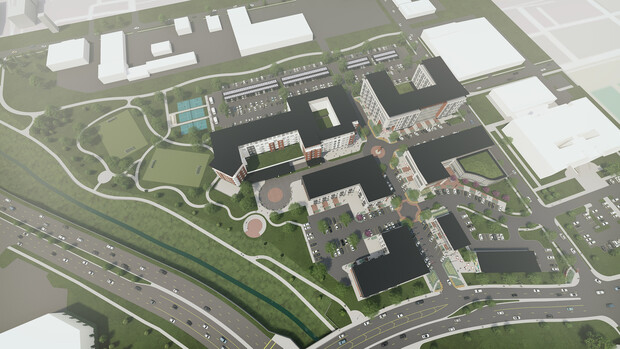 Architect's rendering of how the development might appear above Antelope Parkway (left) and Vine Street (bottom).