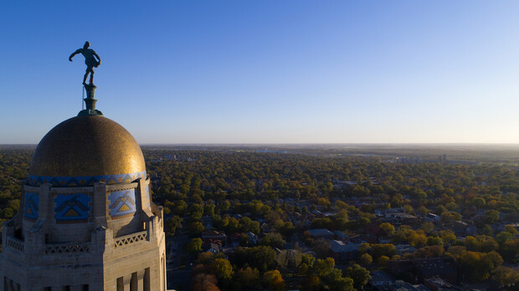 Aerial photo of Lincoln near Nebraska State Capitol