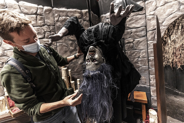 Andy Park adjusts the hair on one of the animated ghouls.