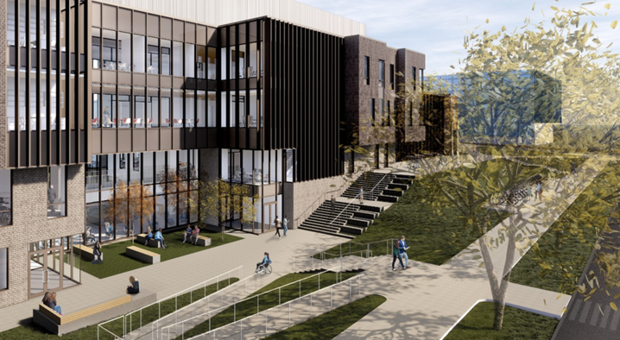 University plans to replace Mabel Lee Hall include the construction of a modern structure, shown here in a architect's rendering.