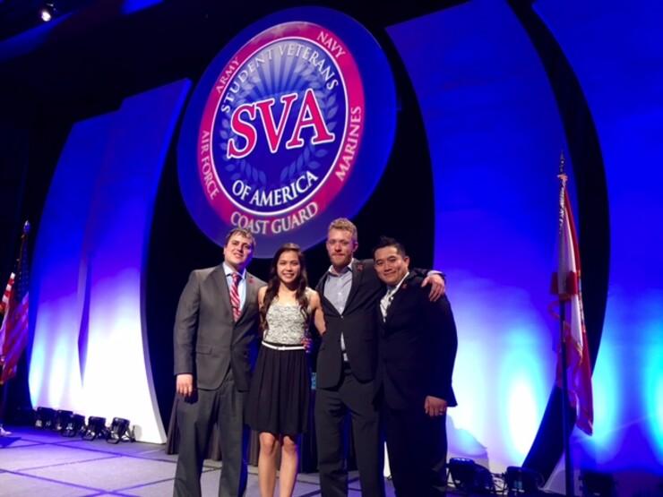 Student veterans Justin Otoski, Elizabeth Whitacre, Justin Collier and Dannee Sengdara