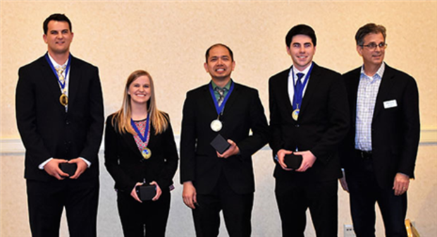 .Neal Winter (from left), Ashley Blunk, Joel Nino Bugayong, Brendan Milnamow and Jim Lahey earned top honors in the APICS Heartland District Student Case Competition.