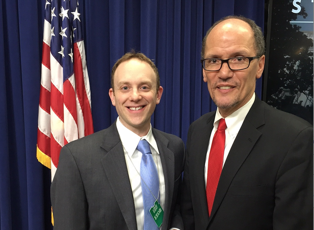 "UNL's Ari Kohen with Secretary of Labor Tom Perez during the ""White House Social"" at the White House on Jan. 20."