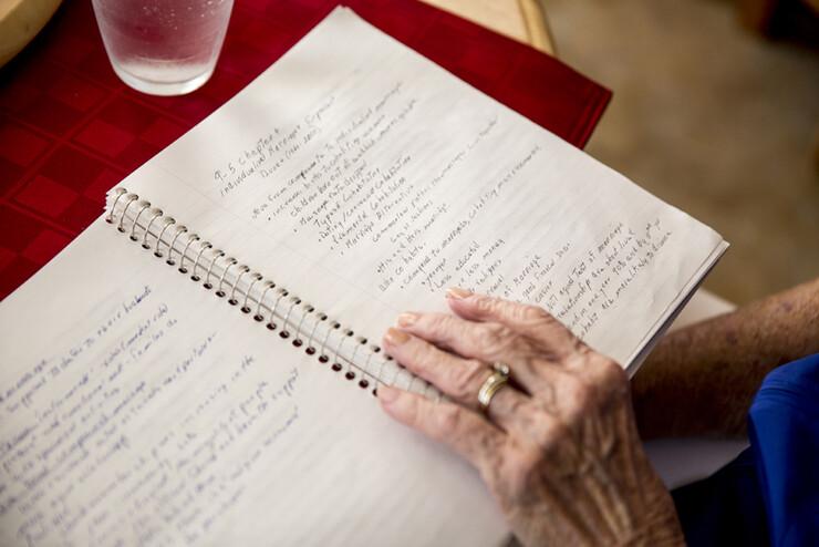 Jean Kops studies her sociology notes.