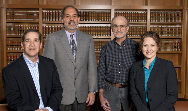Faculty members from the Law-Psychology Program including (from left), Brian Bornstein, professor of psychology; Richard Wiener, director and professor of psychology; Robert Schopp, professor of law; and Eve Brank, associate professor of psychology, are gearing up for the program's 40th anniversary celebration, which will welcome former students and faculty members, Oct. 23-25 at UNL.