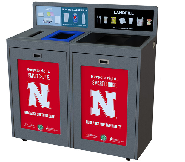 New campus recycling bins for the pilot program will include designated spaces for materials that can be recycled and those destined for the landfill. The new bins are scheduled to arrive by mid-September.