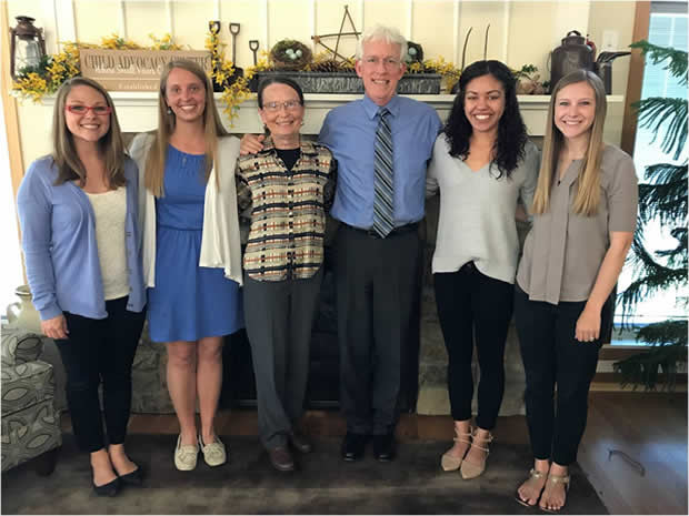 Members of Nebraska's Child Maltreatment Lab include (from left) Brittany Biles, Jessie Pogue, Mary Fran Flood, David Hansen, Kelsey McCoy and Kate Theimer.