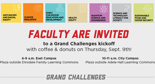 Invitation for faculty to attend information sessions on the Grand Challenges funding.