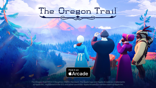 Lead image of the Apple Arcade Oregon Trail game, showing characters looking westward.