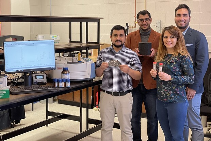 The team of Nebraska researchers and engineers working on the asphalt project includes (from left) Nitish Bastola, Khalid Al Washahi, Mahdieh Khedmati and Hamzeh Haghshenas Fatmehsari.