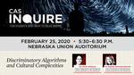 Anthropology, algorithms topics of next CAS Inquire talk